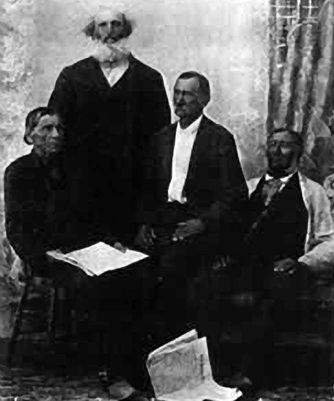 Pioneers of Penetanguishene. A group of voyageurs – Lewis Solomon, John Bussette, James Laramee and Francis Dusome – from an 1895 photograph (Source: A.C. Osborne, The Migration of the Voyageurs from Drummond Island to Penetanguishene in 1828, Toronto, Ontario Historical Society Papers and Records, 1901).